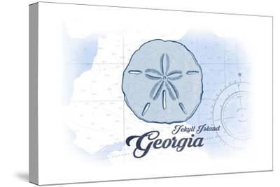 Jekyll Island, Georgia - Sand Dollar - Blue - Coastal Icon-Lantern Press-Stretched Canvas Print