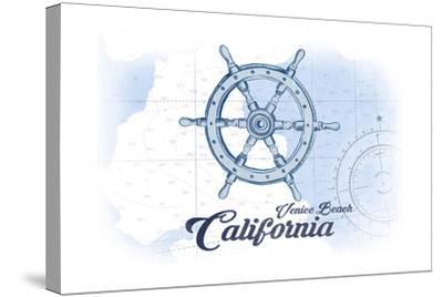 Venice Beach, California - Ship Wheel - Blue - Coastal Icon-Lantern Press-Stretched Canvas Print