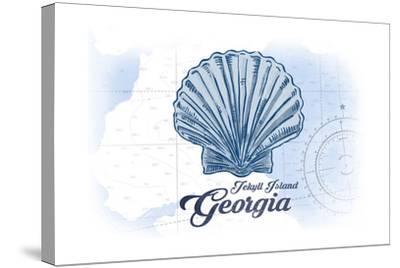 Jekyll Island, Georgia - Scallop Shell - Blue - Coastal Icon-Lantern Press-Stretched Canvas Print