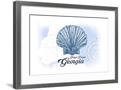 Jekyll Island, Georgia - Scallop Shell - Blue - Coastal Icon-Lantern Press-Framed Art Print