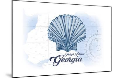 Jekyll Island, Georgia - Scallop Shell - Blue - Coastal Icon-Lantern Press-Mounted Art Print
