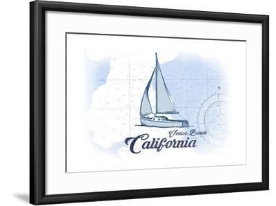 Venice Beach, California - Sailboat - Blue - Coastal Icon-Lantern Press-Framed Art Print