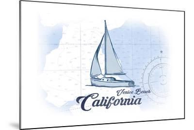 Venice Beach, California - Sailboat - Blue - Coastal Icon-Lantern Press-Mounted Art Print