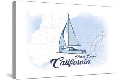 Venice Beach, California - Sailboat - Blue - Coastal Icon-Lantern Press-Stretched Canvas Print