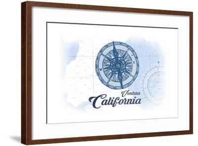 Ventura, California - Compass - Blue - Coastal Icon-Lantern Press-Framed Art Print