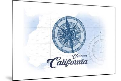 Ventura, California - Compass - Blue - Coastal Icon-Lantern Press-Mounted Art Print