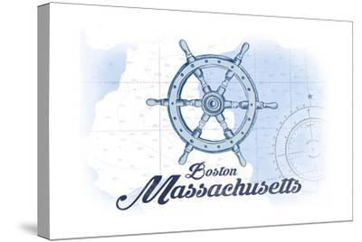 Boston, Massachusetts - Ship Wheel - Blue - Coastal Icon-Lantern Press-Stretched Canvas Print