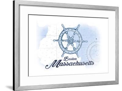 Boston, Massachusetts - Ship Wheel - Blue - Coastal Icon-Lantern Press-Framed Art Print