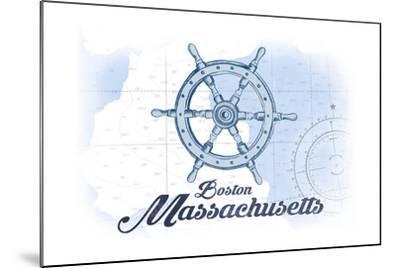 Boston, Massachusetts - Ship Wheel - Blue - Coastal Icon-Lantern Press-Mounted Art Print