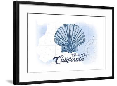 Santa Cruz, California - Scallop Shell - Blue - Coastal Icon-Lantern Press-Framed Art Print