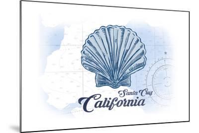 Santa Cruz, California - Scallop Shell - Blue - Coastal Icon-Lantern Press-Mounted Art Print
