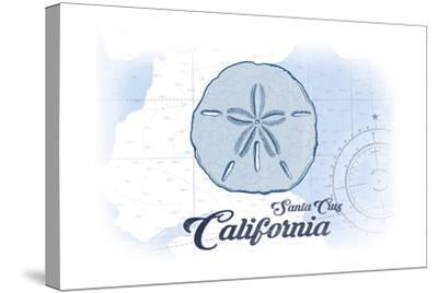 Santa Cruz, California - Sand Dollar - Blue - Coastal Icon-Lantern Press-Stretched Canvas Print