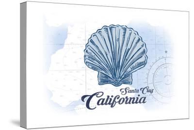 Santa Cruz, California - Scallop Shell - Blue - Coastal Icon-Lantern Press-Stretched Canvas Print