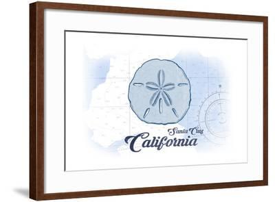Santa Cruz, California - Sand Dollar - Blue - Coastal Icon-Lantern Press-Framed Art Print