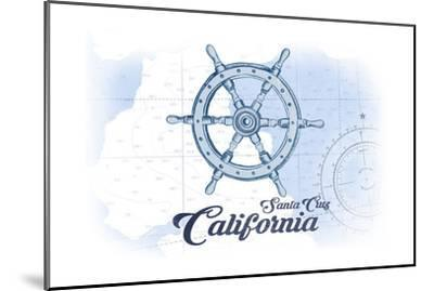 Santa Cruz, California - Ship Wheel - Blue - Coastal Icon-Lantern Press-Mounted Art Print