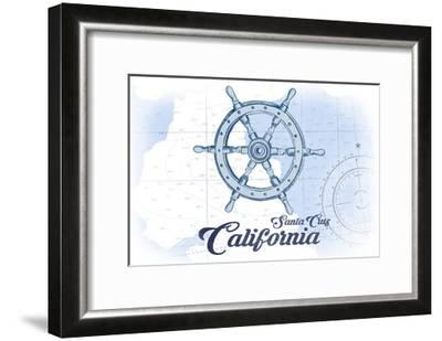 Santa Cruz, California - Ship Wheel - Blue - Coastal Icon-Lantern Press-Framed Art Print