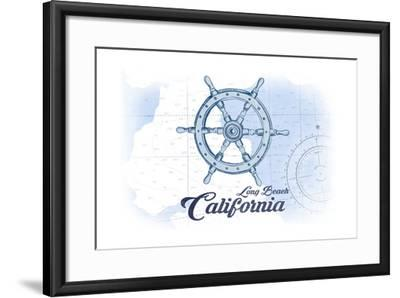 Long Beach, California - Ship Wheel - Blue - Coastal Icon-Lantern Press-Framed Art Print