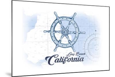 Long Beach, California - Ship Wheel - Blue - Coastal Icon-Lantern Press-Mounted Art Print