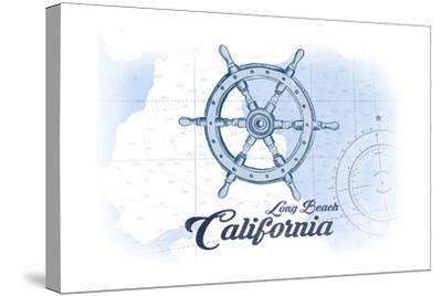 Long Beach, California - Ship Wheel - Blue - Coastal Icon-Lantern Press-Stretched Canvas Print