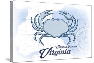 Virginia Beach, Virginia - Crab - Blue - Coastal Icon-Lantern Press-Stretched Canvas Print