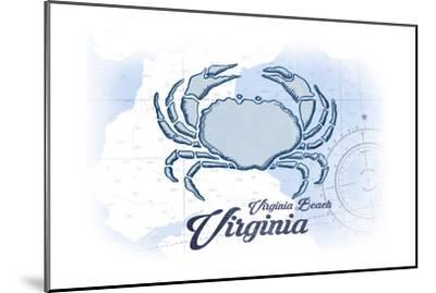 Virginia Beach, Virginia - Crab - Blue - Coastal Icon-Lantern Press-Mounted Art Print
