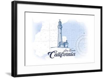 Long Beach, California - Lighthouse - Blue - Coastal Icon-Lantern Press-Framed Art Print