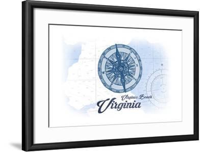Virginia Beach, Virginia - Compass - Blue - Coastal Icon-Lantern Press-Framed Art Print