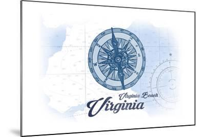 Virginia Beach, Virginia - Compass - Blue - Coastal Icon-Lantern Press-Mounted Art Print