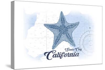 Santa Cruz, California - Starfish - Blue - Coastal Icon-Lantern Press-Stretched Canvas Print