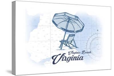 Virginia Beach, Virginia - Beach Chair and Umbrella - Blue - Coastal Icon-Lantern Press-Stretched Canvas Print