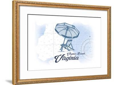 Virginia Beach, Virginia - Beach Chair and Umbrella - Blue - Coastal Icon-Lantern Press-Framed Art Print