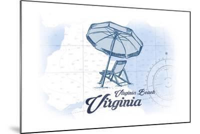 Virginia Beach, Virginia - Beach Chair and Umbrella - Blue - Coastal Icon-Lantern Press-Mounted Art Print