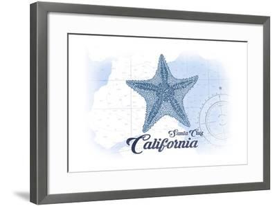 Santa Cruz, California - Starfish - Blue - Coastal Icon-Lantern Press-Framed Art Print