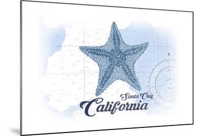 Santa Cruz, California - Starfish - Blue - Coastal Icon-Lantern Press-Mounted Art Print