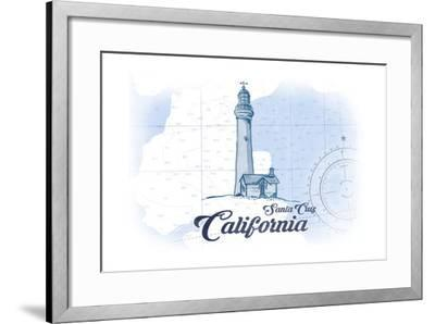 Santa Cruz, California - Lighthouse - Blue - Coastal Icon-Lantern Press-Framed Art Print