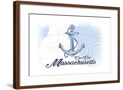 Cape Cod, Massachusetts - Anchor - Blue - Coastal Icon-Lantern Press-Framed Art Print