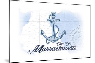 Cape Cod, Massachusetts - Anchor - Blue - Coastal Icon-Lantern Press-Mounted Art Print