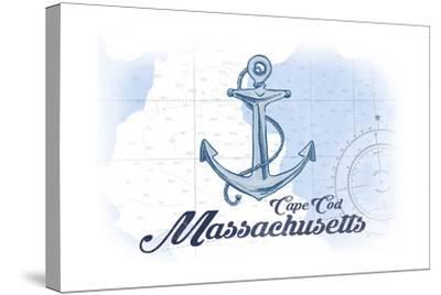 Cape Cod, Massachusetts - Anchor - Blue - Coastal Icon-Lantern Press-Stretched Canvas Print