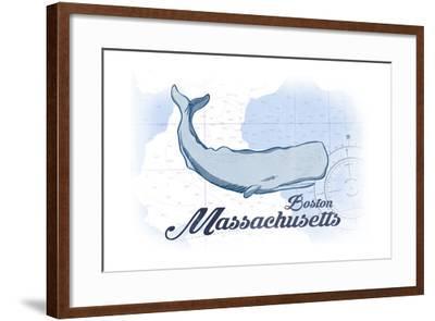 Boston, Massachusetts - Whale - Blue - Coastal Icon-Lantern Press-Framed Art Print