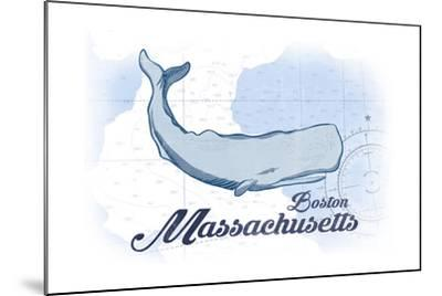 Boston, Massachusetts - Whale - Blue - Coastal Icon-Lantern Press-Mounted Art Print