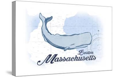 Boston, Massachusetts - Whale - Blue - Coastal Icon-Lantern Press-Stretched Canvas Print