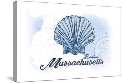 Boston, Massachusetts - Scallop Shell - Blue - Coastal Icon-Lantern Press-Stretched Canvas Print