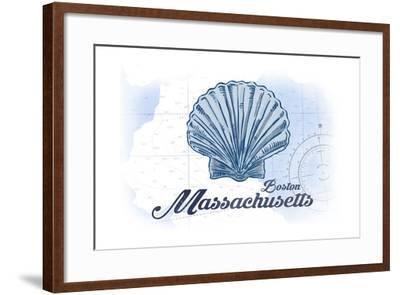 Boston, Massachusetts - Scallop Shell - Blue - Coastal Icon-Lantern Press-Framed Art Print