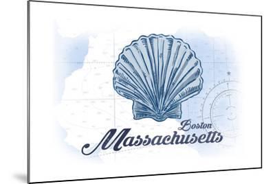 Boston, Massachusetts - Scallop Shell - Blue - Coastal Icon-Lantern Press-Mounted Art Print