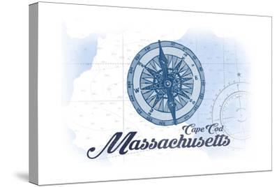 Cape Cod, Massachusetts - Compass - Blue - Coastal Icon-Lantern Press-Stretched Canvas Print