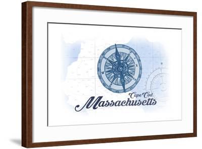 Cape Cod, Massachusetts - Compass - Blue - Coastal Icon-Lantern Press-Framed Art Print