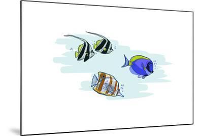 Tropical Fish - Icon-Lantern Press-Mounted Art Print