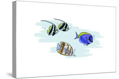 Tropical Fish - Icon-Lantern Press-Stretched Canvas Print