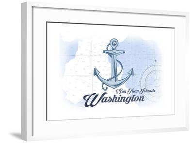 San Juan Islands, Washington - Anchor - Blue - Coastal Icon-Lantern Press-Framed Art Print