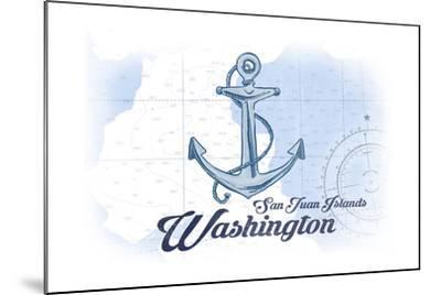 San Juan Islands, Washington - Anchor - Blue - Coastal Icon-Lantern Press-Mounted Art Print